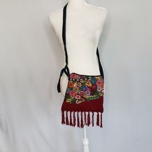 Maroon and floral festival small crossbody purse